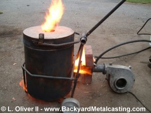 "Backyard Metal Casting Furnace ""the hot shot"" miniature waste oil burner"